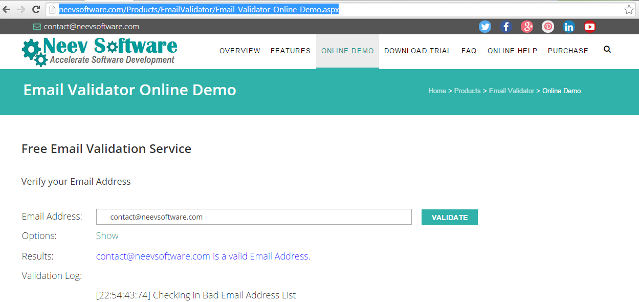 EmailValidator Screen shot